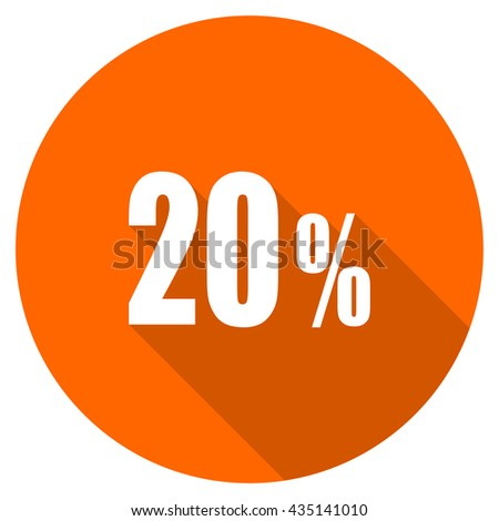 20 percent vector icon, orange circle flat design internet button, web and mobile app illustration