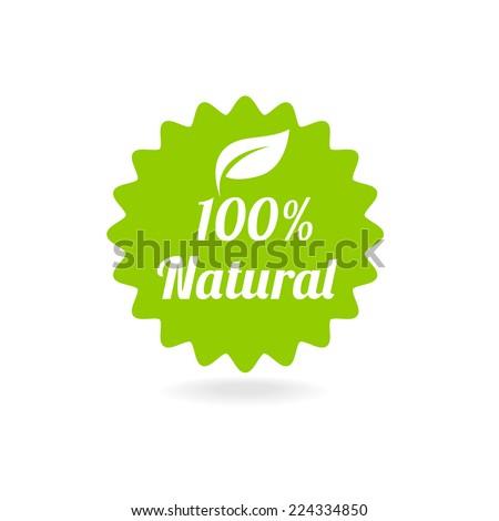 100 percent vector natural label - stock vector