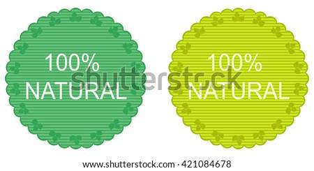 100 percent vector natural label set - stock vector