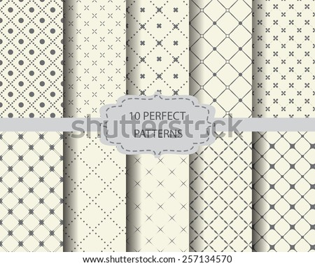 10 perfect vintage patterns, Swatches, vector, Endless texture can be used for wallpaper, pattern fills, web page,background,surface  - stock vector