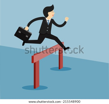person jumping over a hurdle obstacle entitled success.