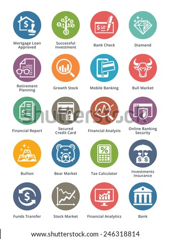 Personal & Business Finance Icons Set 1 - Dot Series - stock vector