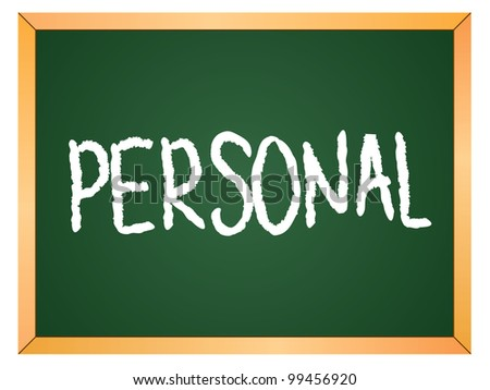 """""""personal"""" word written on chalkboard - stock vector"""
