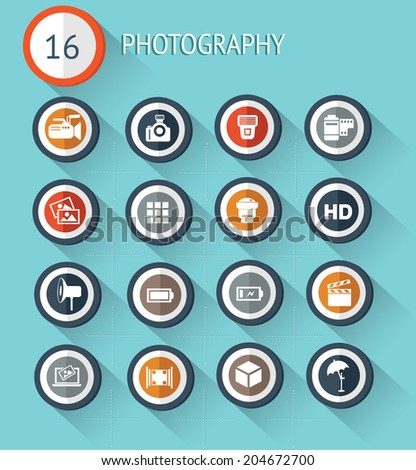 16 Photography flat icon set on blue background,vector - stock vector