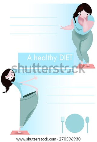 2 pictures of thick and thin girl - before and after. - stock vector