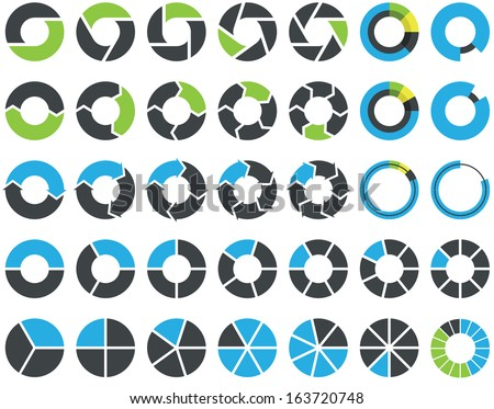 Pie charts and circular graph infographic kit - stock vector