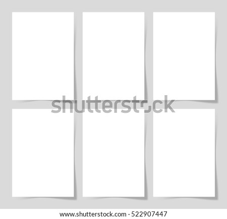 6 pieces blank A4 sheet of white paper with the shadow for your design, vector illustration