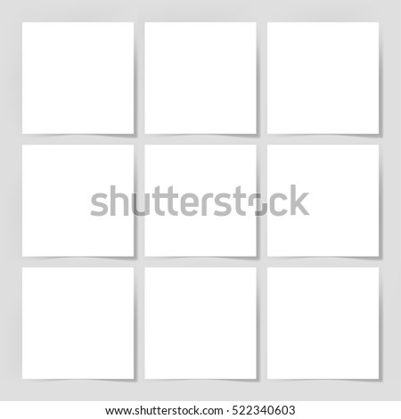 9 pieces blank sheet of white paper with the shadow for your design, vector illustration