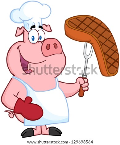 Pig Chef Holding A Fork With Roasted Steak - stock vector
