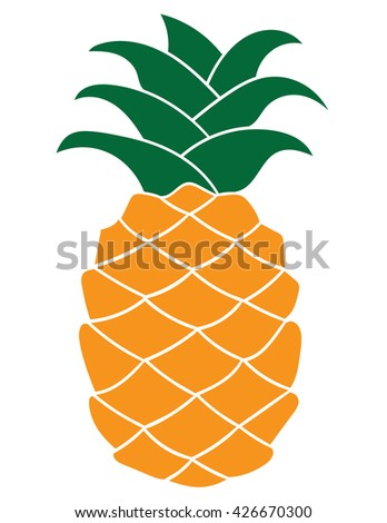Pineapple plant silhouette element for Icon, logo, print, label design, web, decoration, t-shirt, greeting card background. Vector tropical fruit with leaves illustration isolated on white.