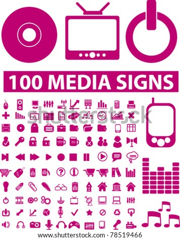 100 pink media icons, signs, vector illustrations - stock vector