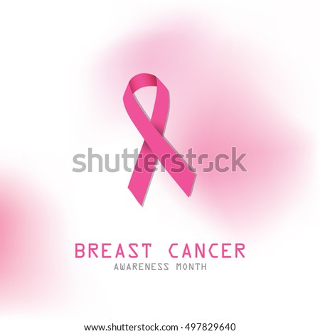 Pink Ribbon Symbol Breast Cancer Awareness Stock Vector 497829640