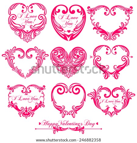 9 Pink  valentine hearts  isolated on White background in vintage style for greeting cards. Vector illustration  - stock vector