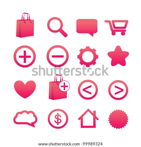 16 Pink Web Icons - stock vector