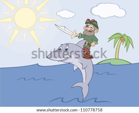 Pirate rides the shark - stock vector