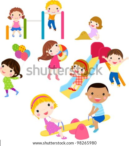playing kids - stock vector