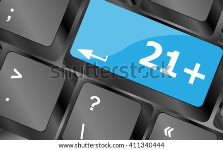 21 plus button on computer keyboard keys. icon button vector
