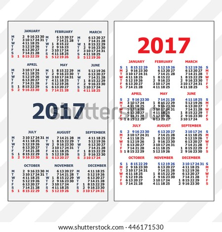 2017 Pocket Calendar. Template Calendar Grid. Vertical Orientation Of Days  Of Week. Two  Days Of The Week Calendar Template