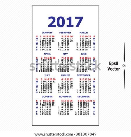 2017 Pocket Calendar Template Calendar Grid Stock Vector 381307849 ...