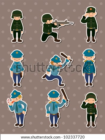 police and army stickers - stock vector