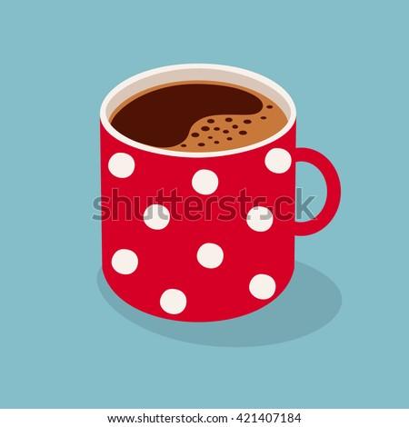 Polka dot mug of coffee. Vector illustration. - stock vector
