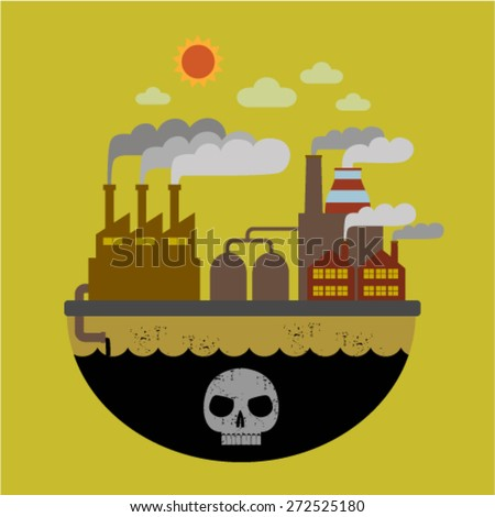 pollution concept. factory  flat  vector design. Industrial  pollution illustration. icon factory smoke from the chimney - stock vector
