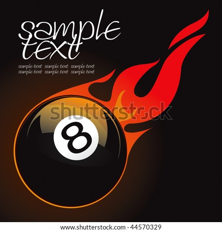 8 pool fire ball vector drawing - stock vector