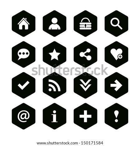 16 popular colors icon basic sign set 05. White pictogram on black hexagon button. Solid plain monochrome flat tile. Simple contemporary modern style. Web design element vector illustration 8 eps - stock vector