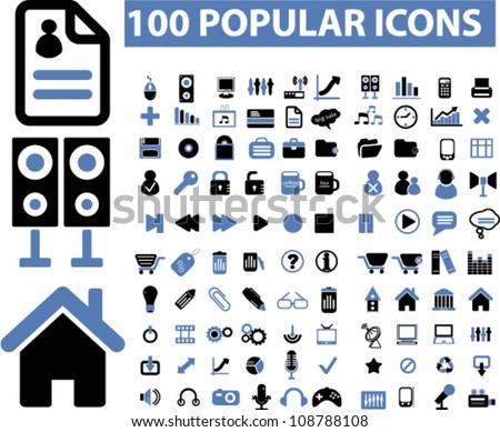 100 popular media icons set, vector - stock vector
