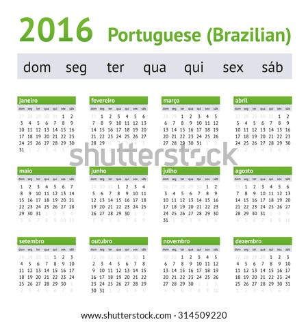 2016 Portuguese American Calendar. Week starts on Sunday