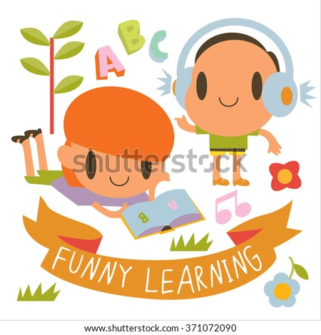 Post cards, kids games, book illustrations, logos or logotypes. learning , reading, hearing the headphones. Open school. - stock vector