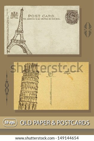 postcards. France. paris. Eiffel Tower. Italy. Leaning Tower of Pisa. Old paper