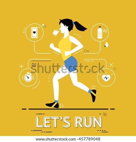 Poster with running woman and modern line elements. Vector illustration.
