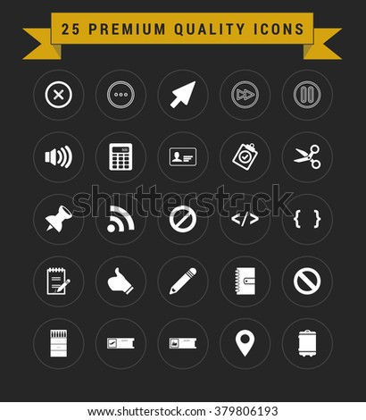 25 Premium Quality icon set. vintage yellow banner on top. simple pictogram minimal, flat, solid, mono, monochrome, plain, contemporary style. Vector illustration web internet design elements
