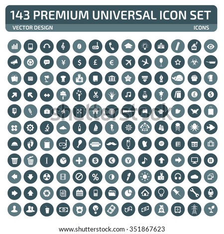 143 Premium Universal Website Icon Set,clean vector