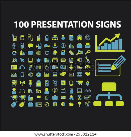 100 presentation, marketing, chart, infographics isolated flat icons, signs, symbols illustrations, images, silhouettes on background, vector - stock vector