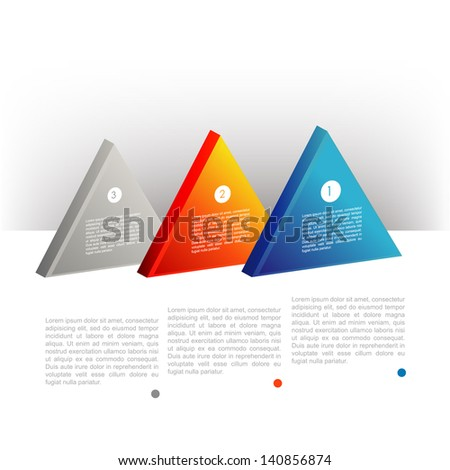 Presentation template triangle graph. Pie chart diagram. Infographics web elements. - stock vector
