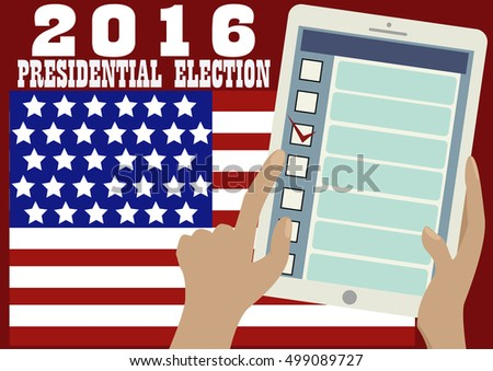 2016 Presidential election banner. American flag,tablet in someone's hands. Opened web page of the electronic online voting.