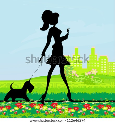 Pretty girl walking the dog - stock vector