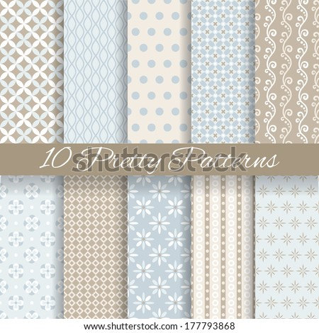 10 Pretty pastel vector seamless patterns (tiling, with swatch). Endless texture can be used for wallpaper, fill, web background, texture. Set of abstract cute ornaments. Blue, beige, white colors. - stock vector