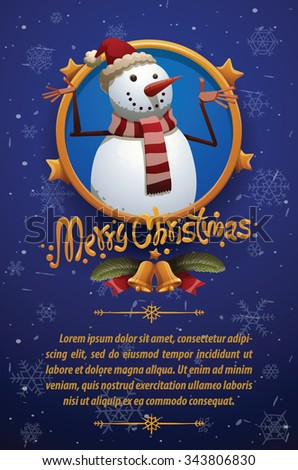 Preview Stock Vector Illustration: Christmas card with dark blue background with Christmas snowman in red christmas hat and scarf with red and white stripes, vector - stock vector