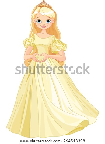 Princess makes heart shape with her fingers - stock vector