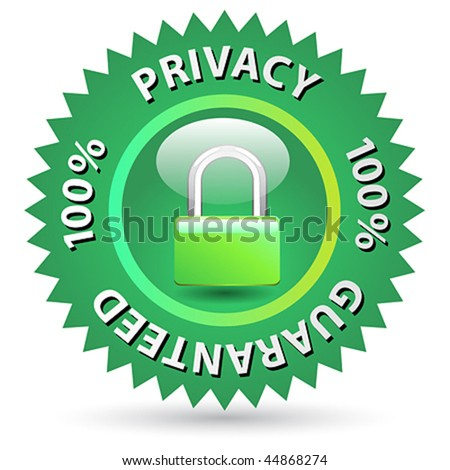 100 % Privacy Guaranteed label vector green sign - stock vector