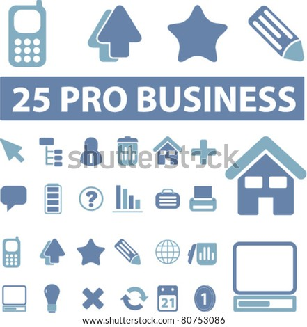 25 pro business icons, signs, vector illustrations - stock vector