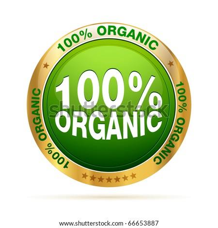 100 procent organic badge | editable vector graphic - stock vector