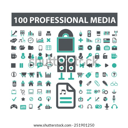 100 professional media, office, business flat isolated icons, signs, illustrations vector set on background