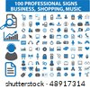 100 professional signs: business, shopping, music. vector - stock vector