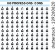 100 professions icons, profile icon set, 100 characters of person icon set - stock photo
