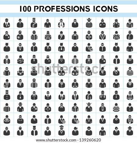 100 professions icons, profile icon set, 100 characters of person icon set - stock vector