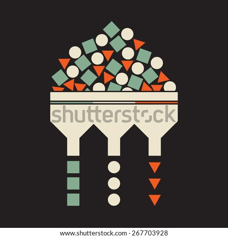 profiling evaluation,  process of sorting items according  to their shape and color - stock vector